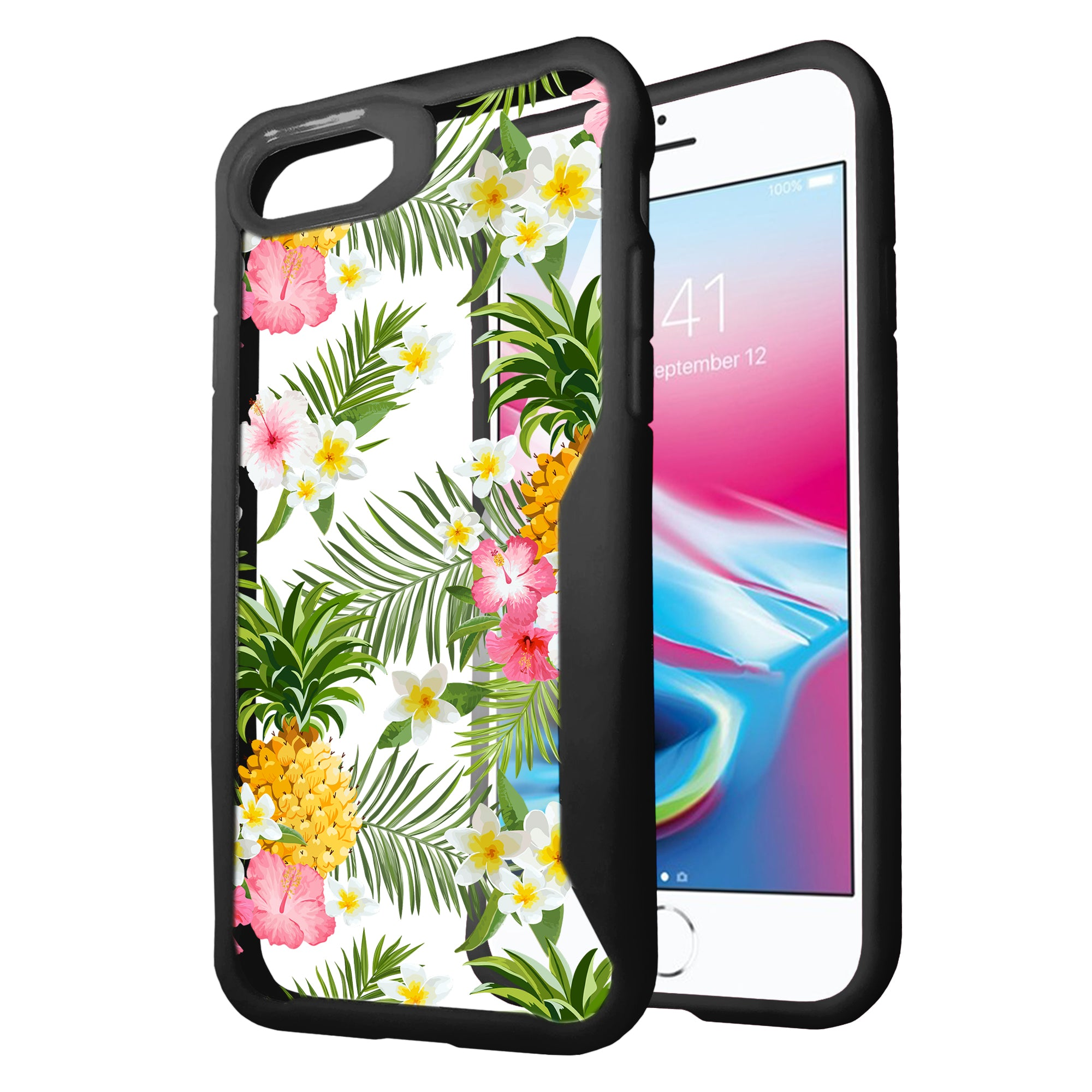 For-Apple-iPhone-8-Plus-Clear-Case-with-Black-Silicone-Edges-Floral-Design thumbnail 7