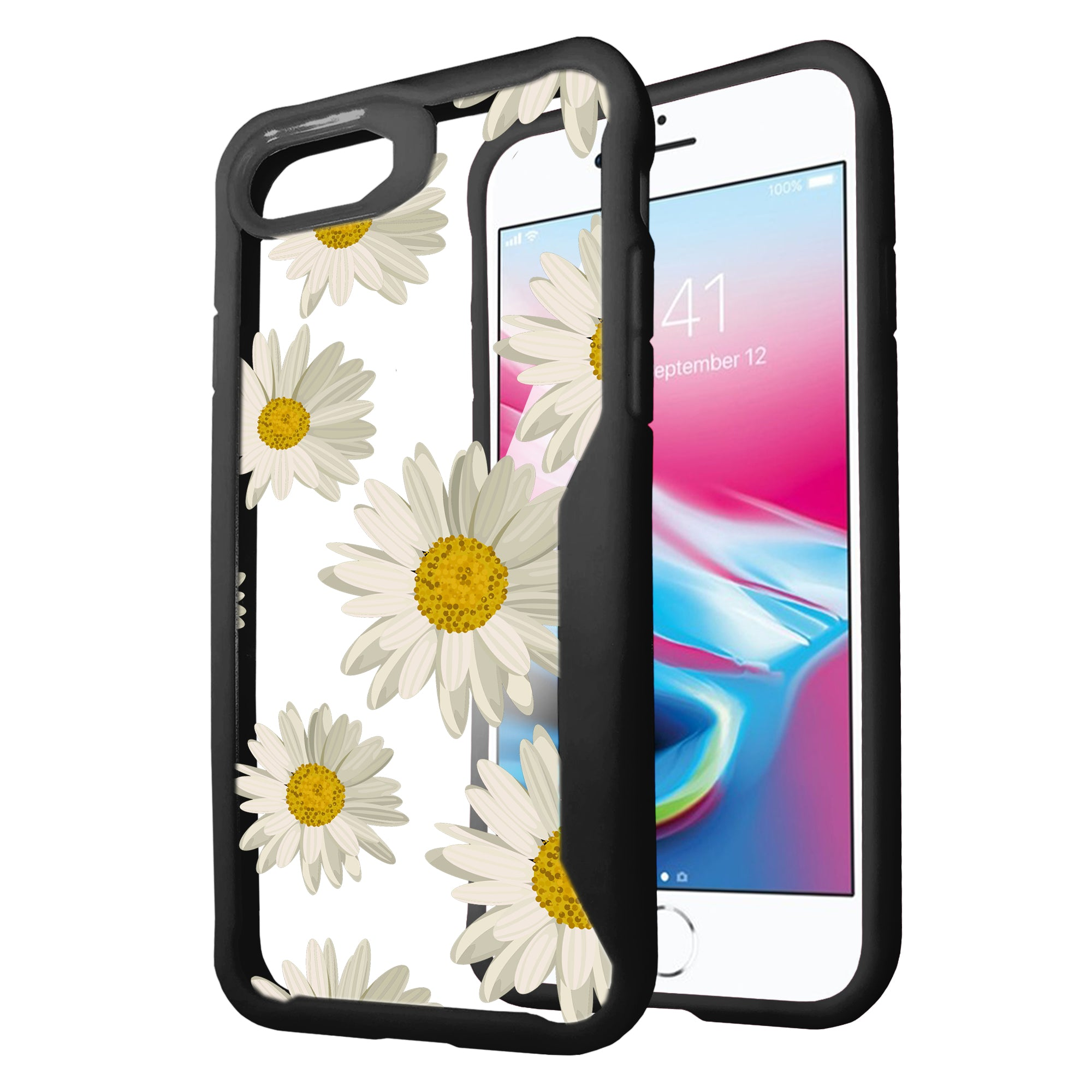 For-Apple-iPhone-8-Plus-Clear-Case-with-Black-Silicone-Edges-Floral-Design thumbnail 9