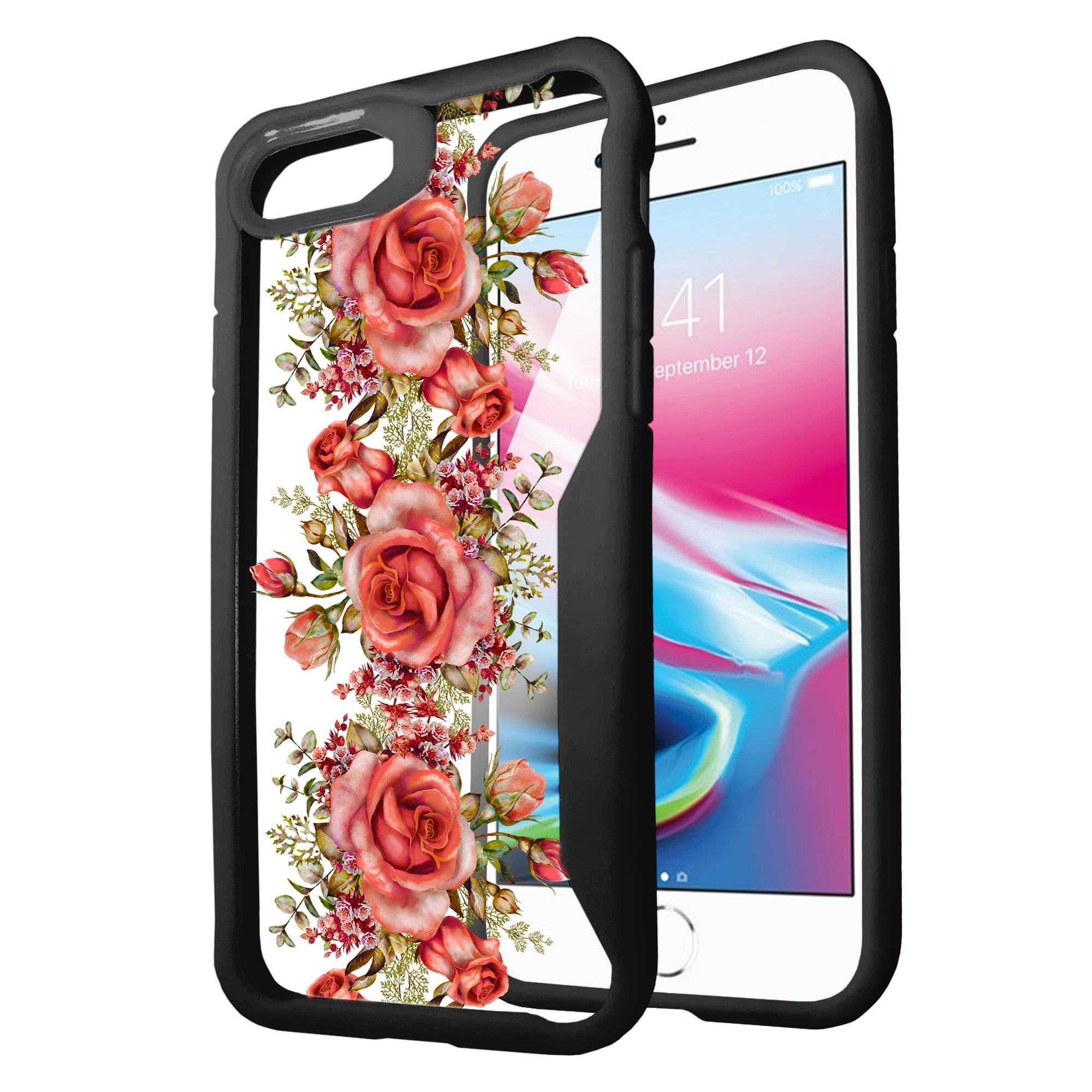 For-Apple-iPhone-8-Plus-Clear-Case-with-Black-Silicone-Edges-Floral-Design thumbnail 11
