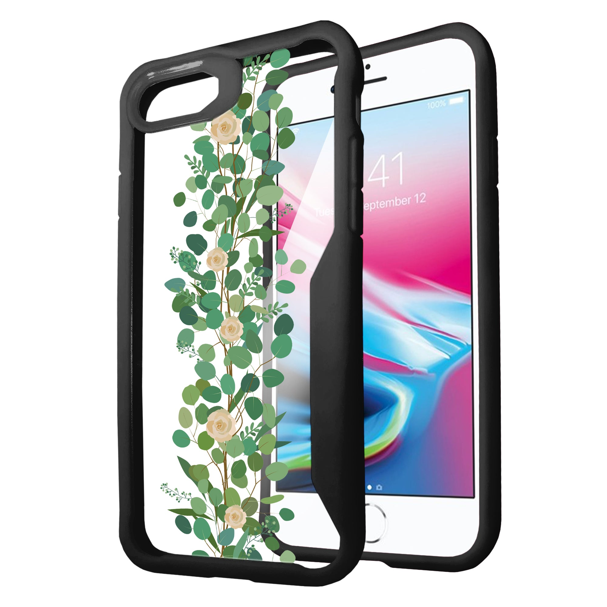 For-Apple-iPhone-8-Plus-Clear-Case-with-Black-Silicone-Edges-Floral-Design thumbnail 13