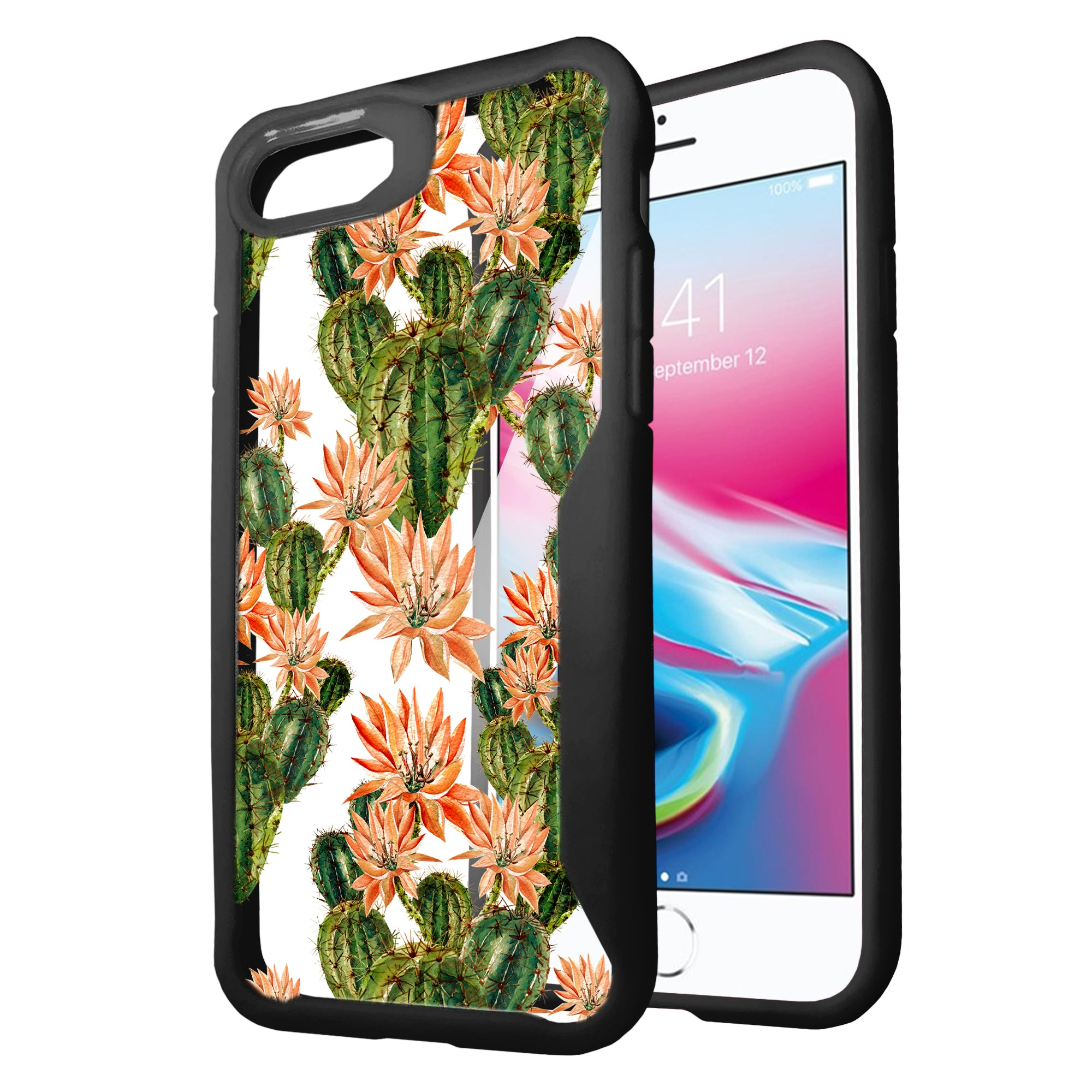 For-Apple-iPhone-8-Plus-Clear-Case-with-Black-Silicone-Edges-Floral-Design thumbnail 15