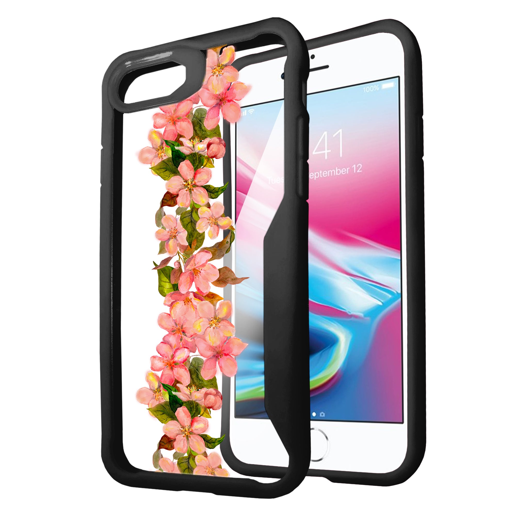 For-Apple-iPhone-8-Plus-Clear-Case-with-Black-Silicone-Edges-Floral-Design thumbnail 17