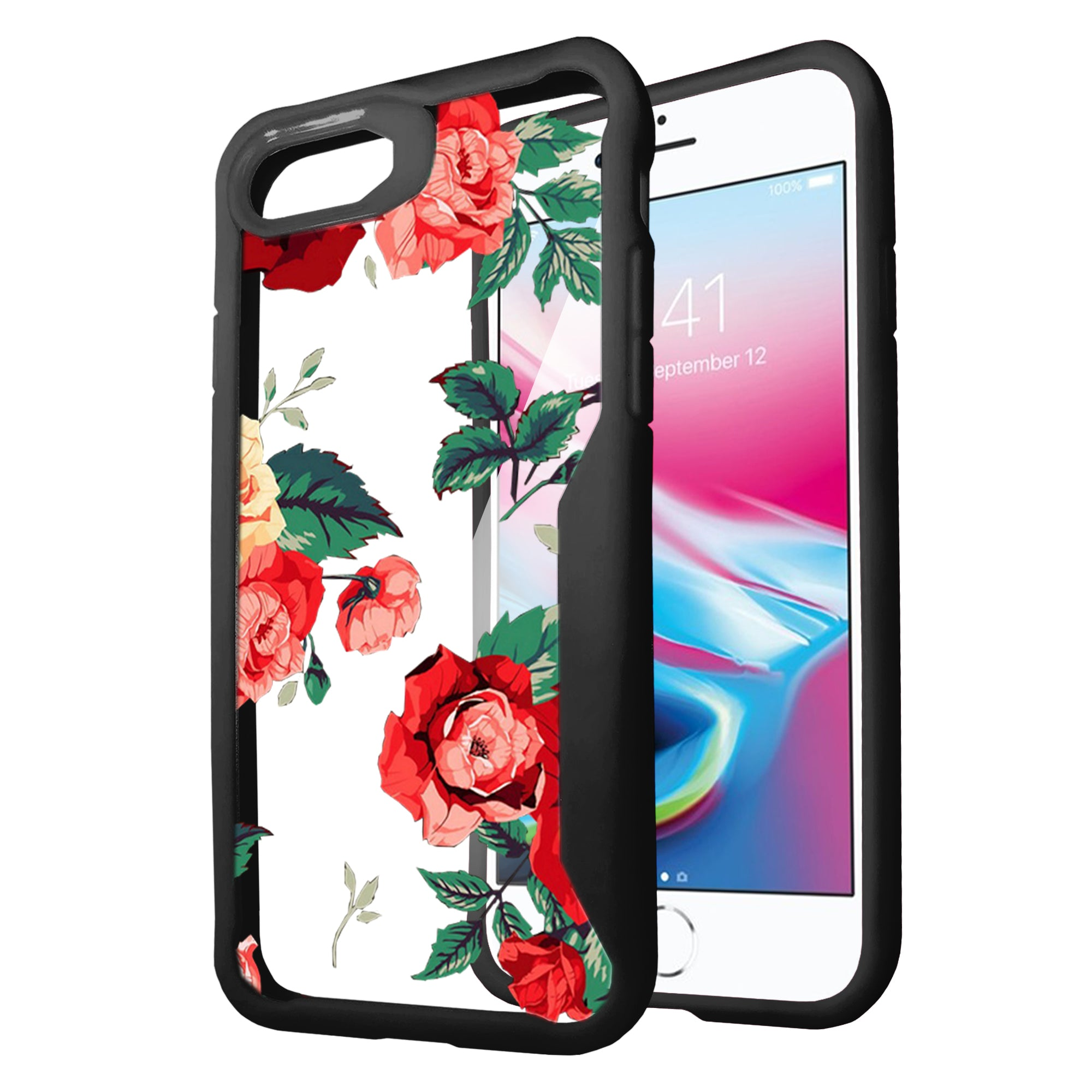 For-Apple-iPhone-8-Plus-Clear-Case-with-Black-Silicone-Edges-Floral-Design thumbnail 19