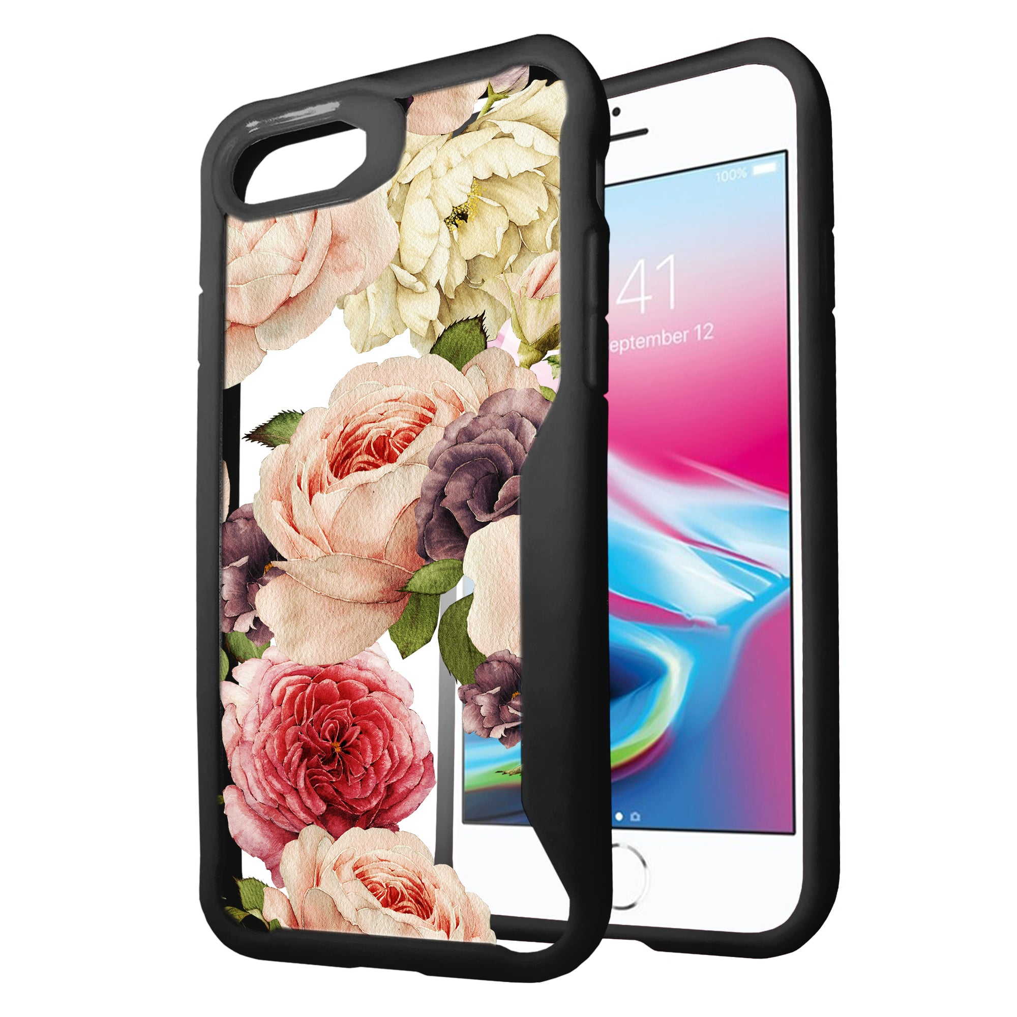 For-Apple-iPhone-8-Plus-Clear-Case-with-Black-Silicone-Edges-Floral-Design thumbnail 21
