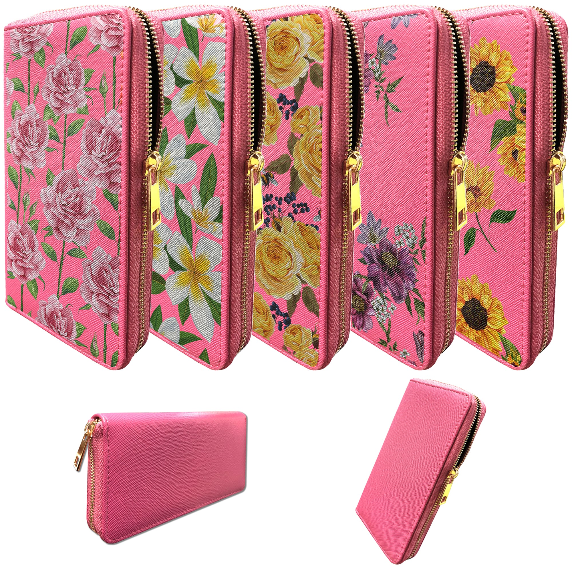 9acaf01c20c0 Details about Pink Wallet for Women | Clutch Wallet for Girls with Floral  Designs
