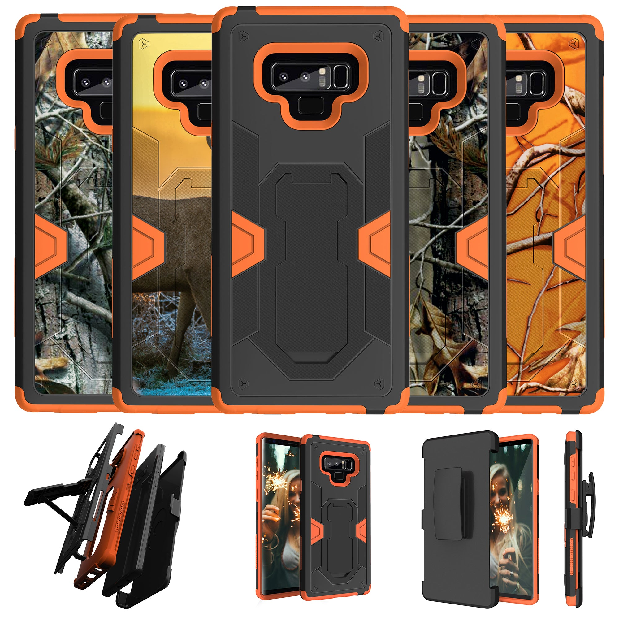premium selection 4562f cc41d Details about For Samsung Galaxy Note 9 SM-N960 Orange Silicone Holster and  Kickstand Case