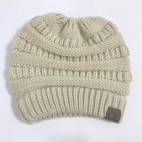 Atas Lifestyle beauty Beige / One Size Ponytail Soft Knit Beanie