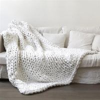 Atas Lifestyle Household Essentials Bright White / 40 x 47 Inches Chunky Knitted Blanket