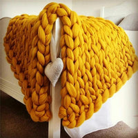 Atas Lifestyle Household Essentials Butterscotch Yellow / 40 x 47 Inches Chunky Knitted Blanket