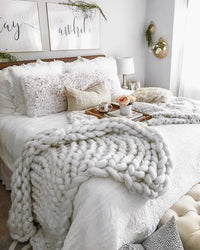 Atas Lifestyle Household Essentials Pebble Grey / 32 x 40 Inches Chunky Knitted Blanket