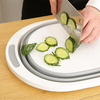 Lenzero Store Chopping Blocks Collapsible Dish Tub & Cutting Board With Draining Plug