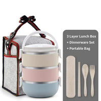 WORTHBUY Official Store Lunch Boxes 3 Layer Set Thermal Pro Japanese Layered Lunch Box