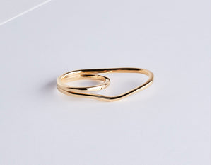 Wire two-finger silver ring with 18 k gold plating