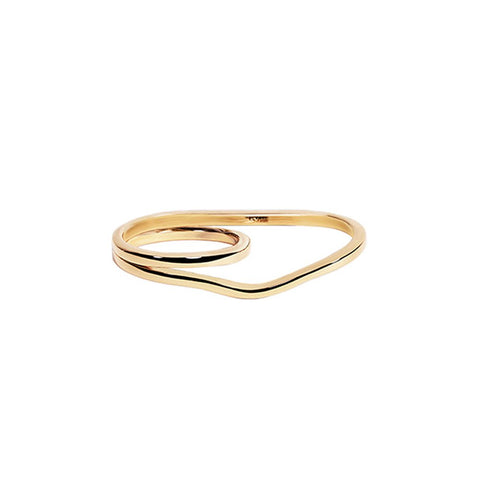 WIRE TWO FINGER RING GOLD PLATED