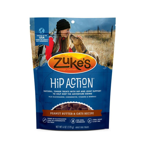 product zoomed image Zukes Hip Action Peanut Butter and Oats Dog Treats with Glucosamine and  Chondroitin