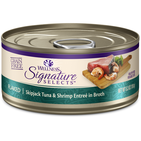product zoomed image Wellness Signature Selects Grain Free Natural Skipjack Tuna with Shrimp Entree in Broth Wet Canned Cat Food