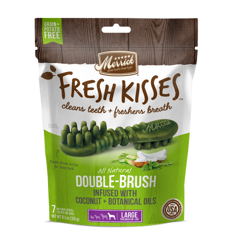 product zoomed image Merrick Fresh Kisses Grain Free Coconut Oil and Botanicals Large Dental Dog Treats