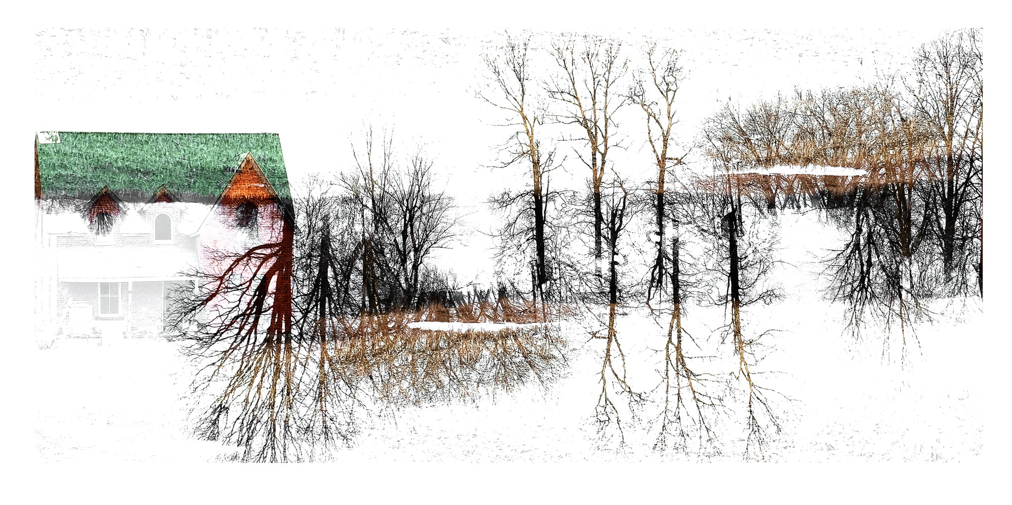 'Red Barn' - Inverted Double Exposure