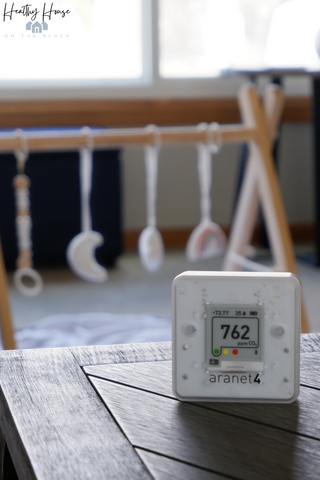 Aranet4 HOME Indoor Air Quality Monitor in Jessicas Home
