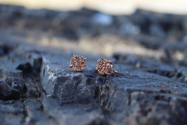 Natural Druzy Stud Earrings - Bare Your Hart