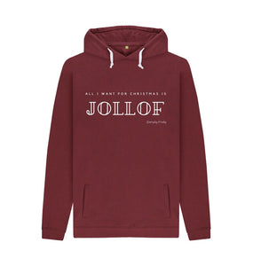 Red Wine Unisex Hoodie | All I want for Christmas Is Jollof