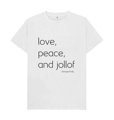 White Unisex Tee | Love, Peace and Jollof