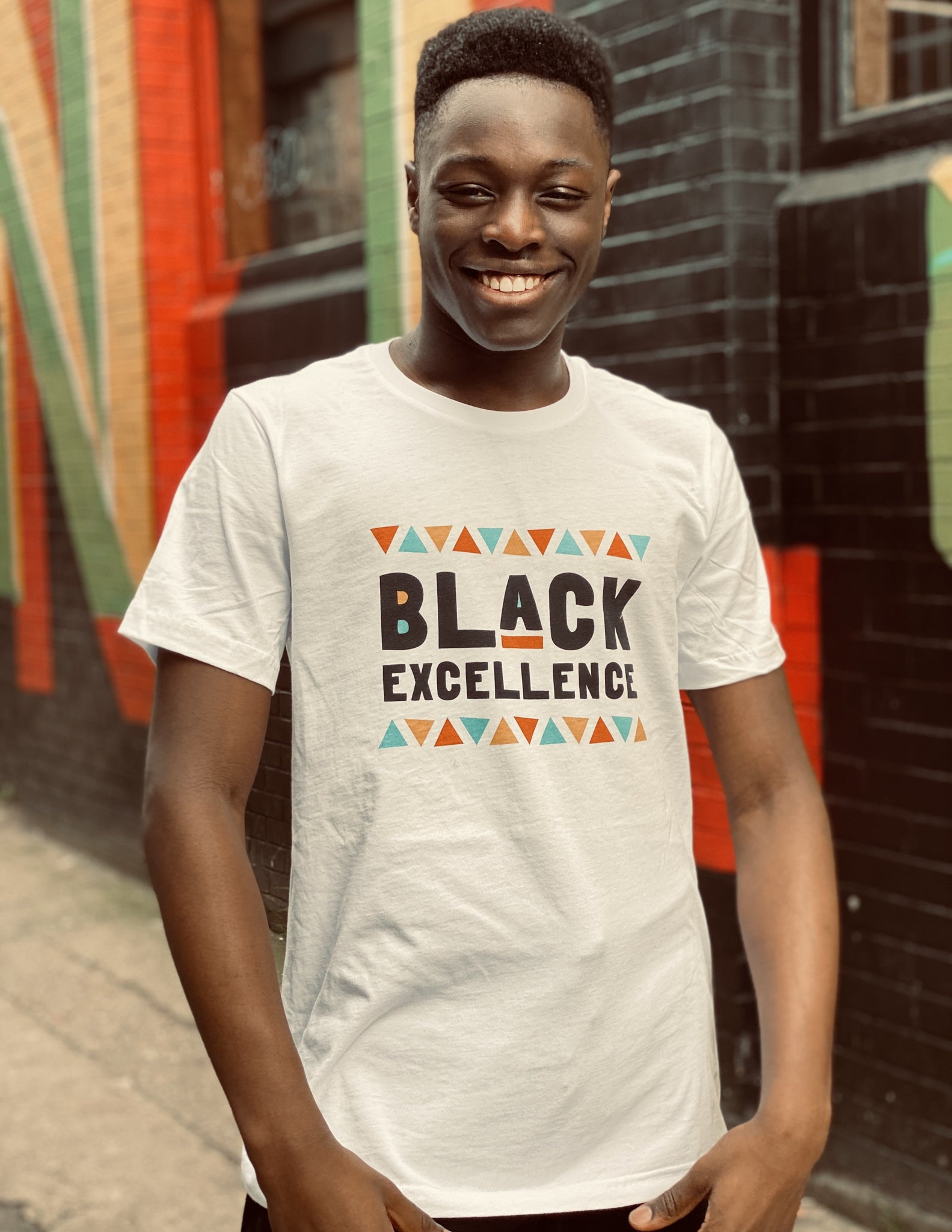 Black Excellence Tee in White