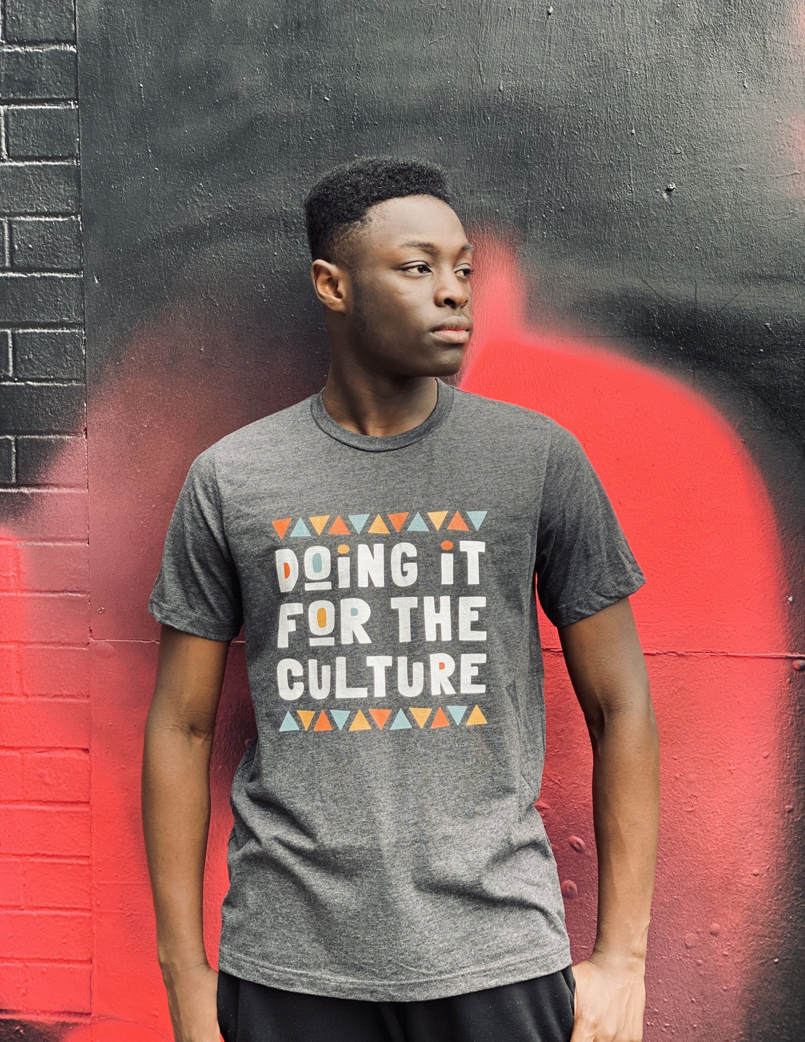 Doing It For The Culture Tee in Dark Grey Heather
