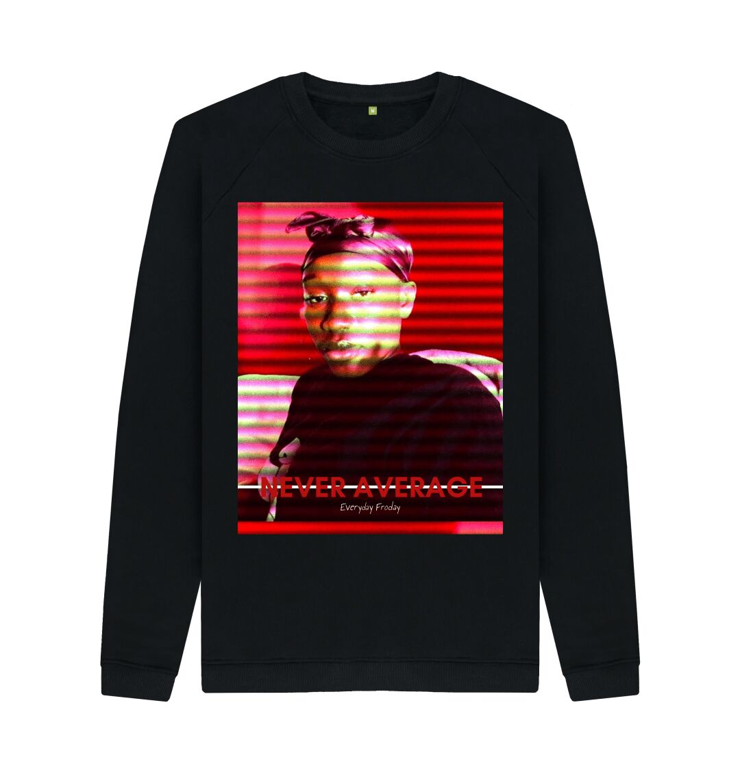 Black Unisex Sweatshirt | Never Average RED (black)
