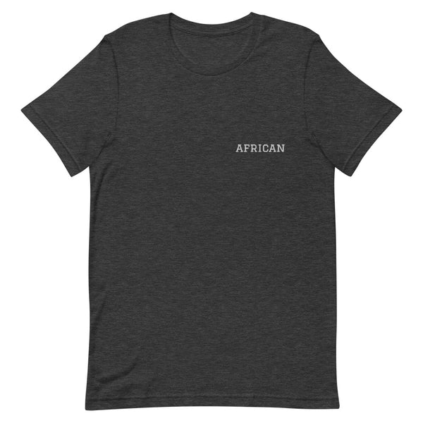 African Tee Embroidery in Dark Grey Heather