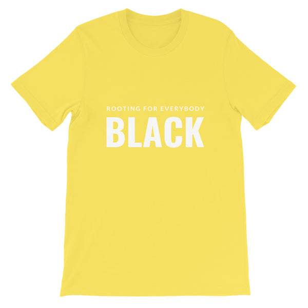 Rooting for everybody Black tee in yellow