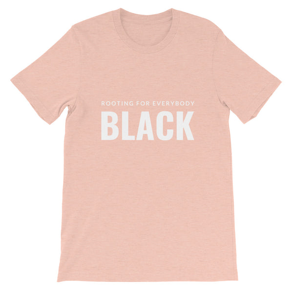 Rooting for everybody Black tee in Heather Prism Peach