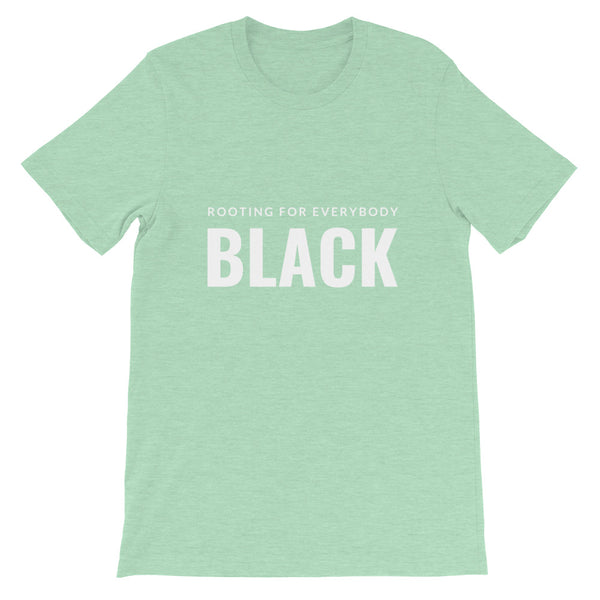 Rooting for everybody Black tee in Heather Prism Mint