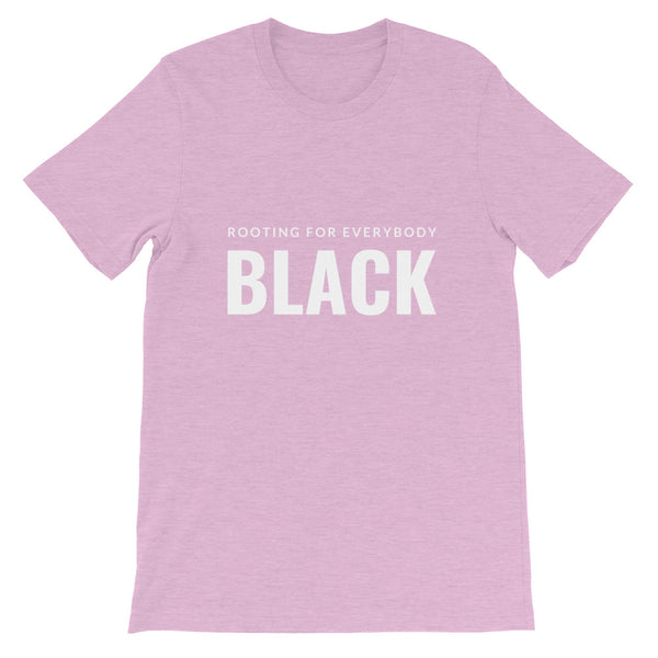 Rooting for everybody Black tee in Heather Prism Lilac