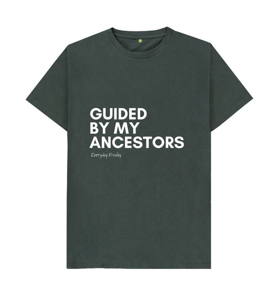 Dark Grey Unisex Tee | Guided by my ancestors (coloured)