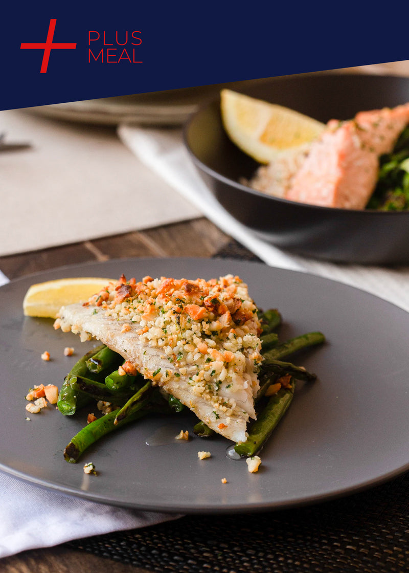 Macadamia and herb crusted barramundi  GYM CHALLENGE PLUS + MEAL (GF,DF)
