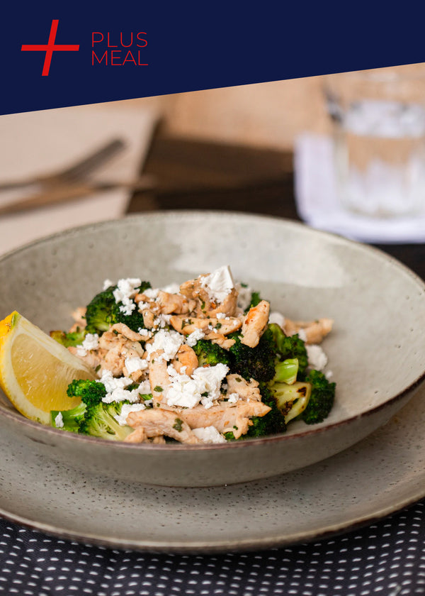 Warm chicken, broccoli and feta salad (GF)GYM CHALLENGE PLUS MEAL