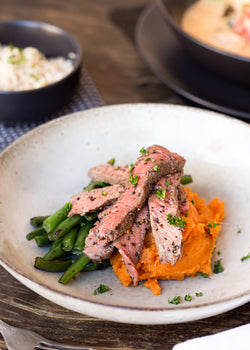 Pepper steak pieces with sweet potato mash and green beans( GF)