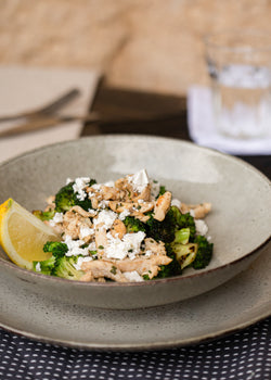 Warm chicken, broccoli and feta salad (GF)