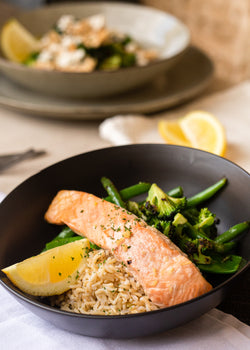 Citrus Atlantic salmon with garden greens and brown rice (GF, DF)