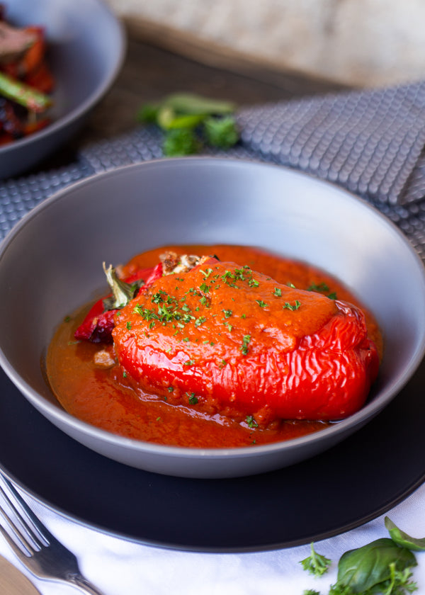Lentil and bean stuffed roasted capsicum (GF, V)
