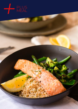 Citrus Atlantic salmon with garden greens and brown rice (GF, DF) GYM CHALLENGE + PLUS MEAL