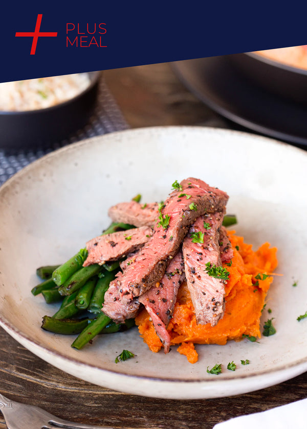 Pepper steak pieces with sweet potato mash and green beans GF GYM CHALLENGE + PLUS MEAL