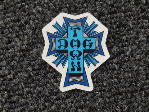 Dogtown CROSS STICKER - BLUE 2""