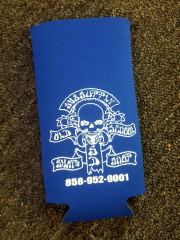 SK8SUPPLY drink coozie Wes Humpston art - BLUE