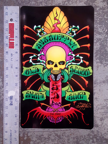 "SK8SUPPLY shop sticker art by Wes Humpston (dogtown artist) LARGE 15.5"" x 9.5"""