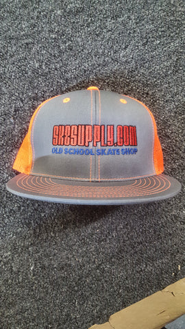 SK8SUPPLY Classic Logo mesh snap back hat - GREY SAFETY ORANGE