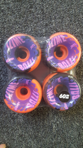 Santa Cruz Slime Balls reissue skateboard wheels 60mm 97a - BLACK ORANGE SWIRL