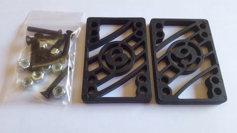 "Sector 9 Risers - 1/4"" BLACK (with hardware)"