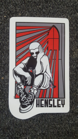 H Street MATT HENSLEY Stained Glass - STICKER RED